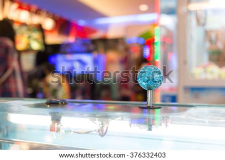 Close up Joystick of arcade. - stock photo