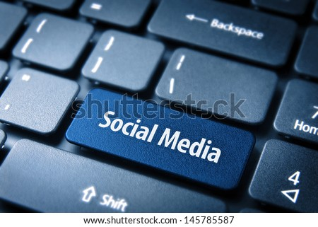 Close up key with social media icon on laptop keyboard. Included clipping path, so you can easily edit it. - stock photo
