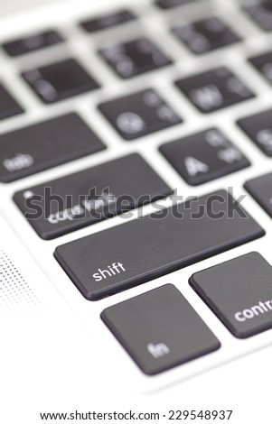 Close - up keyboard button at computer notebook   - stock photo