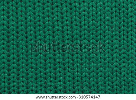 Close up Knitting Background Green Color,texture from natural yarn - stock photo