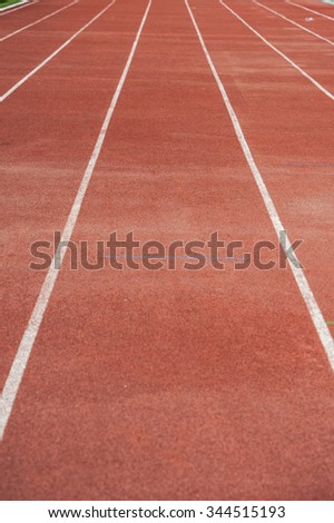 Close up : lanes of running track, Red Asphalt for runners - stock photo