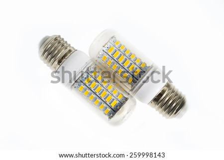 Close-up LED Bulb isolated on white background - stock photo