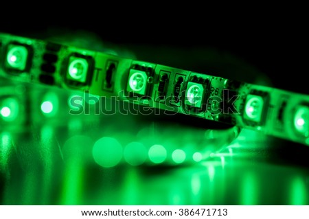 close up led strip lights, green color - stock photo
