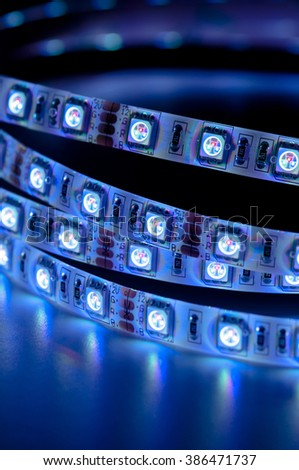 close up led strip rgb lights, blue color - stock photo