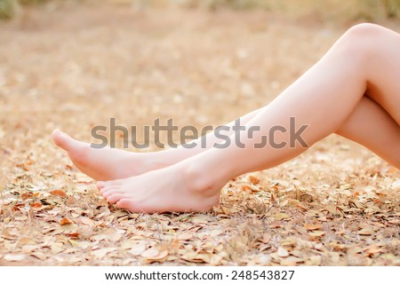 Close Up leg,woman With legs gesture,smooth blur tone - stock photo