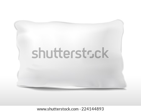 close up look at blank pillow isolated on white background - stock photo