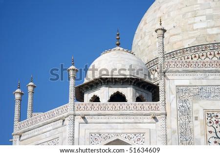 Close up look at taj Mahal - stock photo