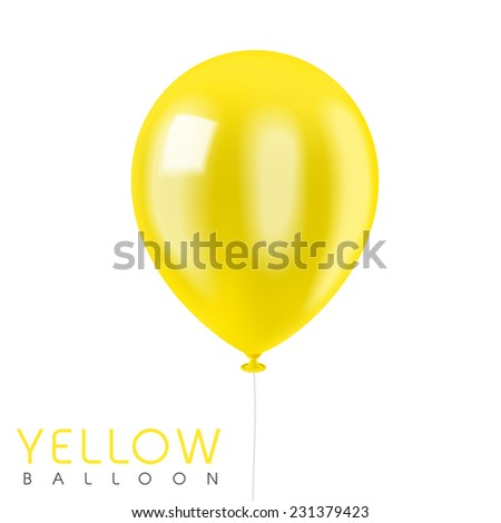 close up look at yellow balloon isolated on white - stock photo