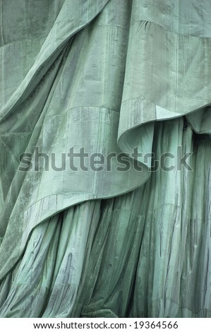 Close-up, lower section of Statue of Liberty's robe on Liberty Island, New York City, USA - stock photo