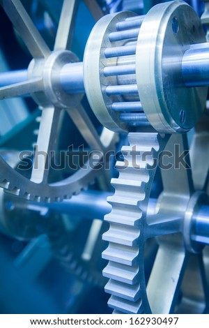 Close up Machine Gear cog, Business Cooperation Teamwork and Time concept  - stock photo