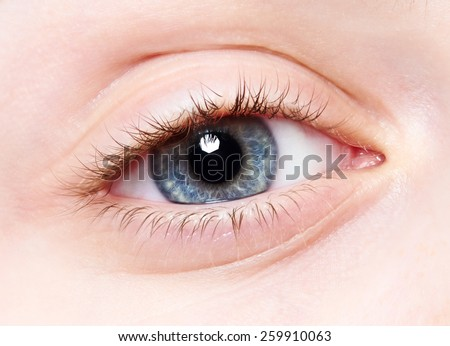 Close-up macro human female child eye  - stock photo