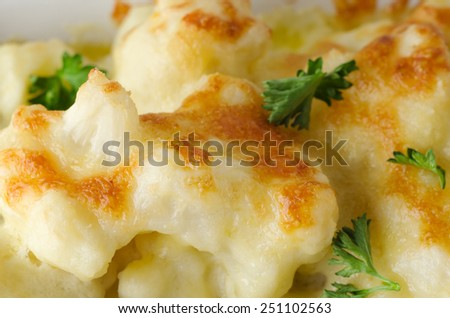 Close up (macro) of  baked cauliflower cheese with scattered parsley garnish. - stock photo