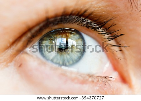 Close-up macro portrait of a beautiful female eye - stock photo