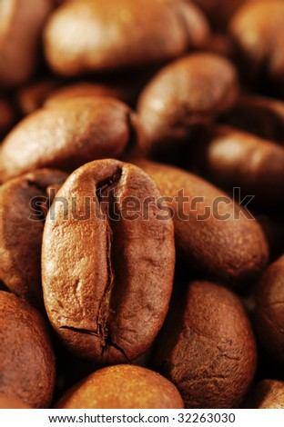 close-up macro shot of roasted coffee beans - stock photo