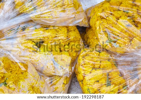 close up many asian flower in plastic bag - stock photo