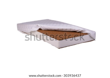 Close-up mattress made of coconut fiber  and sponge - stock photo