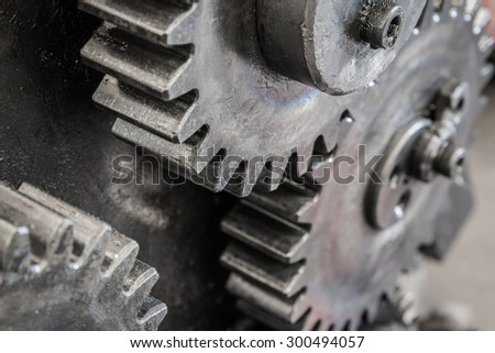 Close up meshing gear for industrial background - stock photo