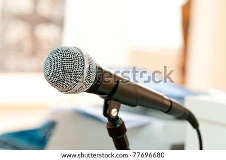 Close up microphone - stock photo
