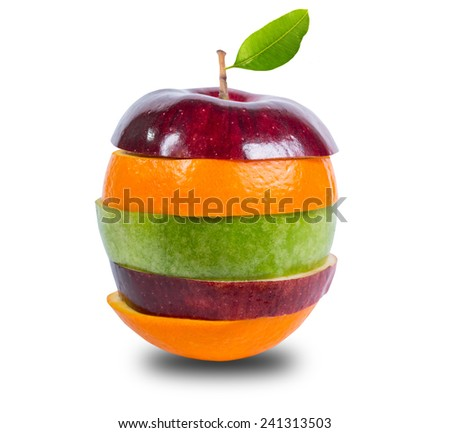 Close up mixed fruit with white background include clipping path - stock photo