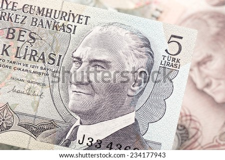 Close-up mixed liras banknotes old turkish lira around 1970's - stock photo