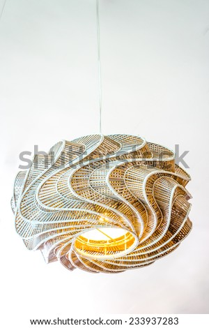 close up modern design of rattan ceiling lamps  on the ceiling - stock photo