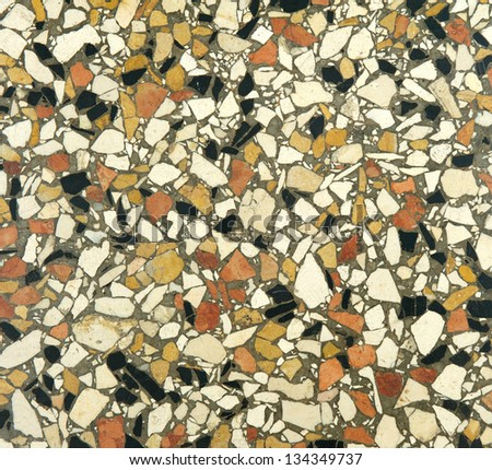 Close up mosaic wall with many colors - stock photo