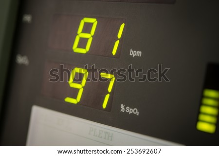 Close up number on pulse oximeter - stock photo