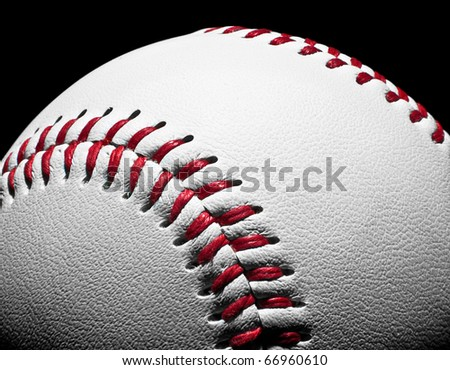 Close-up of a baseball with large depth of field. - stock photo