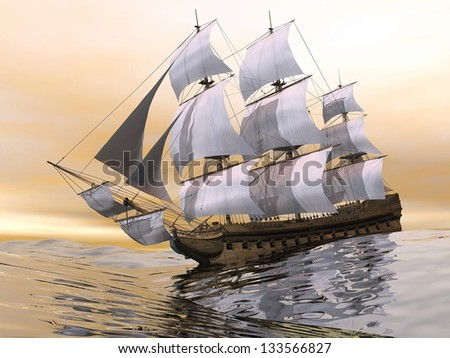 Close up of a beautiful detailed old merchant ship on the ocean by sunset light - stock photo