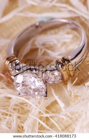 Close up of a beautiful diamond ring - stock photo