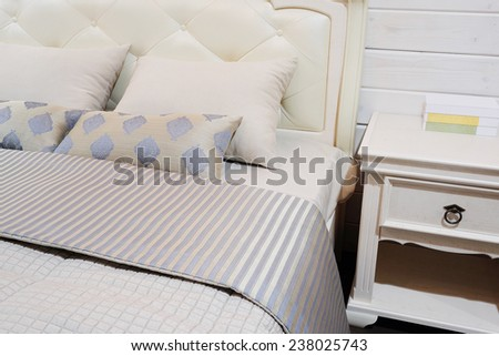 close-up of a bedroom in modern style - stock photo