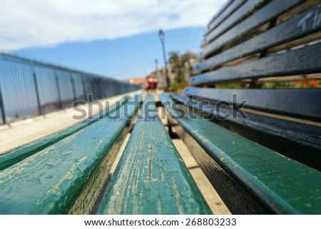Close-up of a bench, selective focus - stock photo