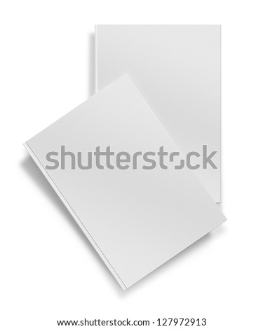 close up of a blank white book on white background with clipping path - stock photo