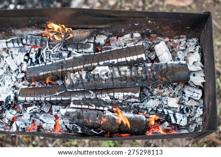 Close-up of a bonfire, top view - stock photo
