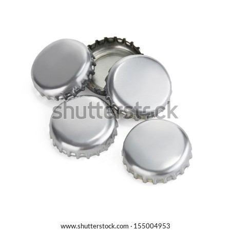 close up of a bottle caps on white background with clipping path - stock photo