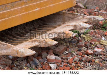close-up of a bucket of an excavator - stock photo