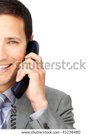 Close-up of a businessman talking on phone against a white background - stock photo