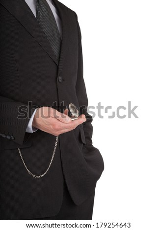 close-up of a businessman with an open pocket watch in his hand on a white background - stock photo