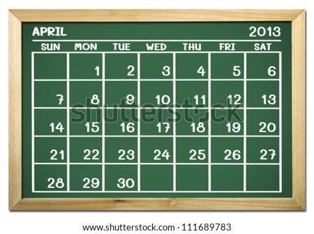 close up of a calendar 2013 on a blackboard - stock photo