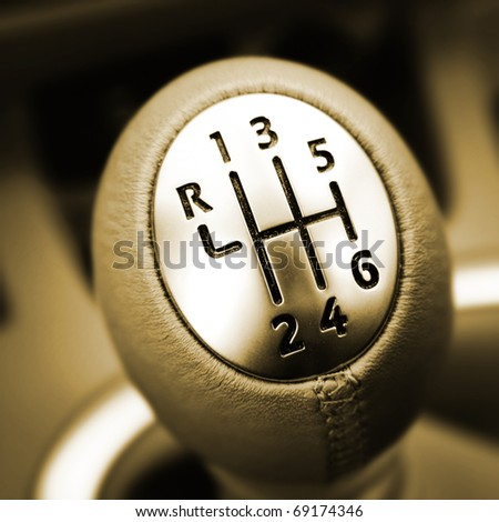 Close-up of a car gear lever. - stock photo