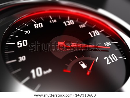Close up of a car speedometer with the needle pointing a high speed, blur effect, conceptual image for excessive speeding or careless driving concept - stock photo