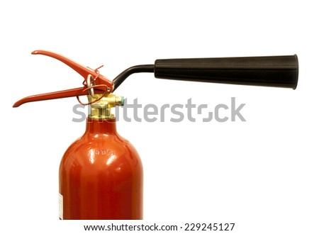 Close up of a carbon dioxide fire extinguisher on a white background - stock photo