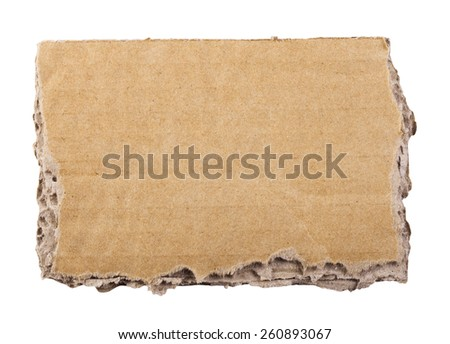 close up of a cardboard piece on white background. Clipping Path - stock photo