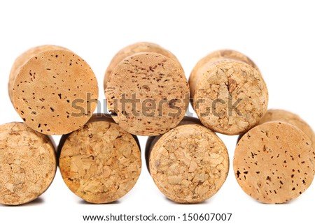 Close up of a champagne corks. White background. - stock photo