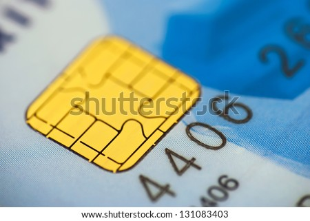 Close up of a chip on a credit card. - stock photo