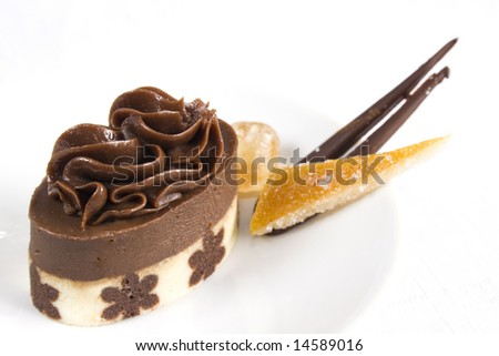 Close up of a chocolate petit four on a white dish and background. Main focus on the middle part of the PF. It's accompanied with a slice of glazed orange skin and a piece of chocolate. - stock photo