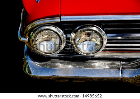 close up of a classic vintage car - stock photo
