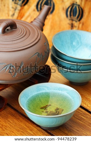 Close up of a colorful asian tea set. - stock photo