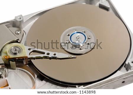 Close up of a computer hard drive internal - macro - stock photo