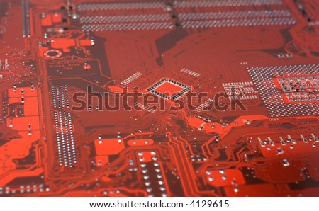 Close Up of a computer mainboard. - stock photo